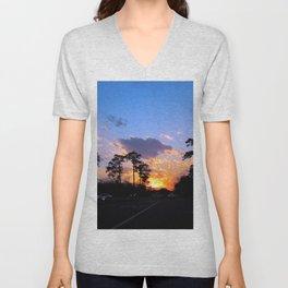 Highway Sunset Unisex V-Neck