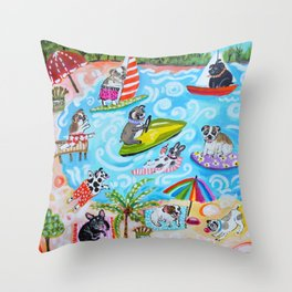 Dogs at the Beach Throw Pillow