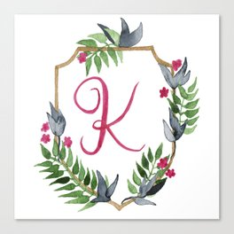 Jungle Gold Monogram Crest K Canvas Print