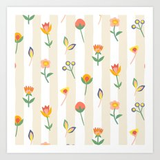 Paper Cut Flowers Art Print