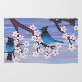 Steller's jays and cherry blossoms Rug