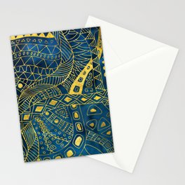 Tribal  Watercolor and Gold Pattern on blue Stationery Cards