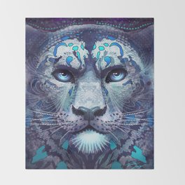 Snow Leopard Late Night Throw Blanket