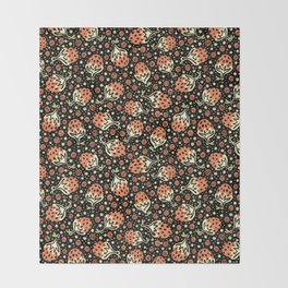Wild Strawberry Field , Woodcut Style Fruit Pattern Illustration Red on Black Throw Blanket