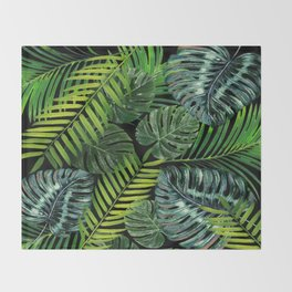 Jungle Tangle Green On Black Throw Blanket