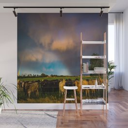 Bovine Shine - Cattle Gather on Stormy Day in Kansas Wall Mural