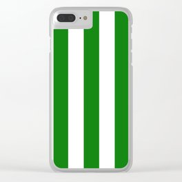 Xbox Green - solid color - white vertical lines pattern Clear iPhone Case