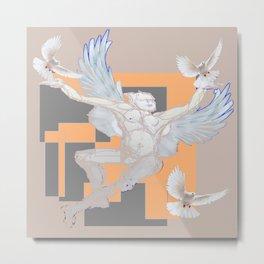 Abstract Angel With Birds Grey Art Metal Print
