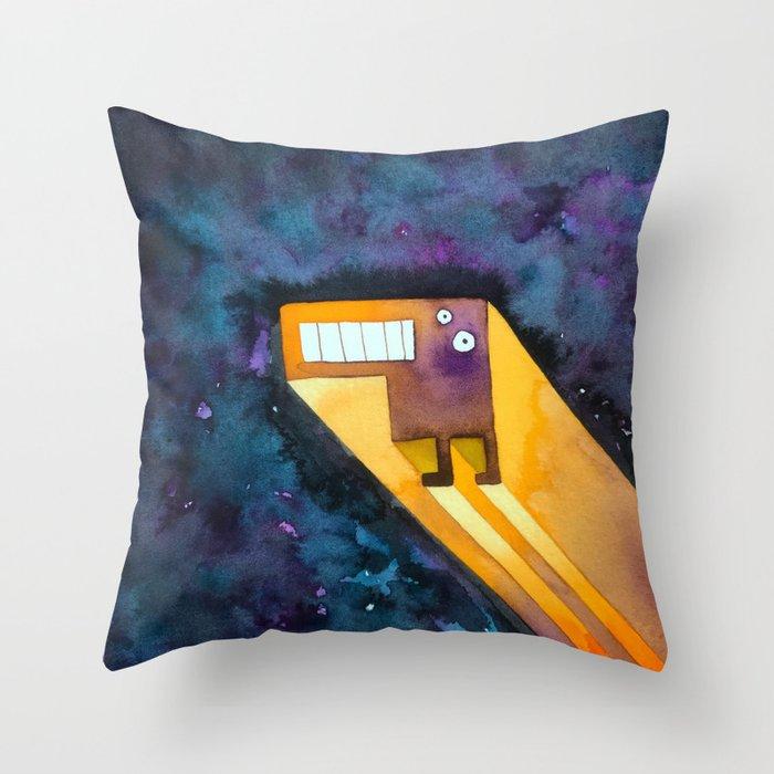 Tetris Monster Zooming Throw Pillow