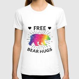 Free Bear Hugs Grizzly Gay Pride Parade LGBTQ Rainbow Stripe T-shirt