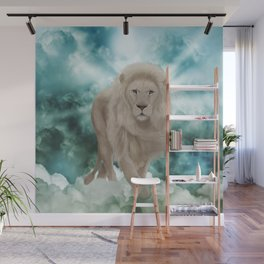 Awesome white lion in the sky Wall Mural