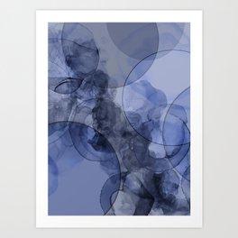Indigo Blue Alcohol Ink Abstract Art Art Print