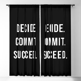 Decide Commit Succeed Motivational Gym Quote Blackout Curtain