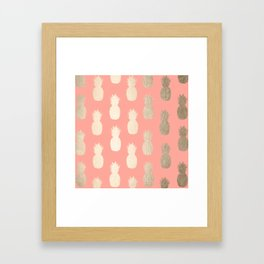 Gold Pineapples on Coral Pink Framed Art Print