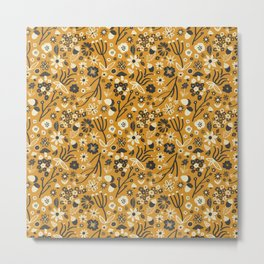 Freestyle Fall Floral in Ochre Metal Print