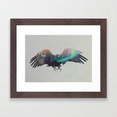 Eagle In The Aurora Borealis Framed Art Print