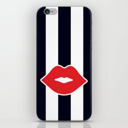 Red Lips with Stripes iPhone Skin