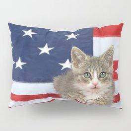 Patriotic Tabby Kitten Pillow Sham