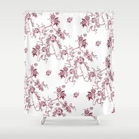 penis Shower Curtains featuring Penis Pattern RED by Daniel McLaren