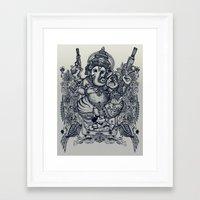 ganesh Framed Art Prints featuring Ganesh by MR VELA