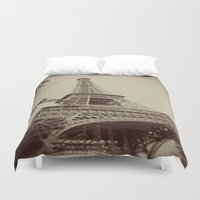 eiffel tower Duvet Covers featuring Eiffel Tower by AngelicaRoesler