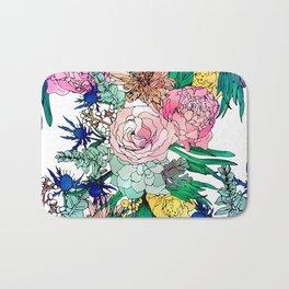 Stylish Colorful Watercolor Floral Pattern Bath Mat