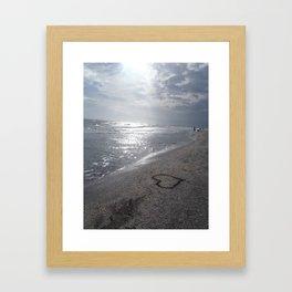 Heart on Beach Framed Art Print