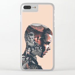 Stranger Things Collage Artwork With Eleven And the Main Cast Clear iPhone Case