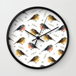 Cute red brown hand painted robin Christmas bird floral Wall Clock