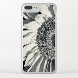 Black & White Sunflower Clear iPhone Case