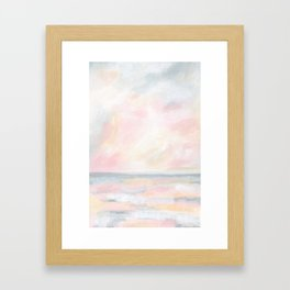 Patience - Pink and Gray Pastel Seascape Framed Art Print