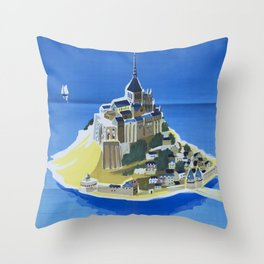 Mont Saint-Michel Vintage Travel Poster Throw Pillow