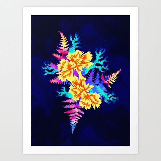 Coral Carnation - Yellow/Blue Art Print