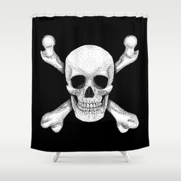 Jolly Roger - Deaths Head Pirate Skull Charge Shower Curtain