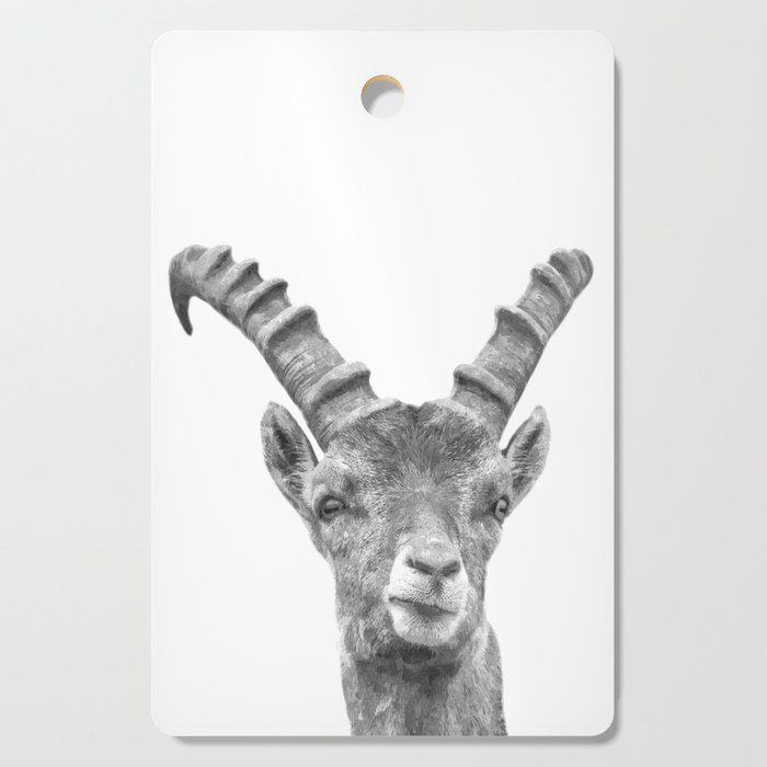 Black and white capricorn animal portrait Cutting Board
