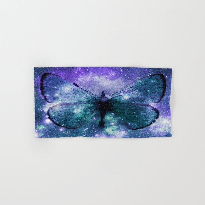 Celestial Butterfly Violet Turquoise Teal Hand & Bath Towel