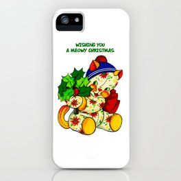 WISHING YOU A MEOWY CHRISTMAS iPhone Case
