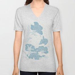 japanese Flowers White and Blue Unisex V-Neck