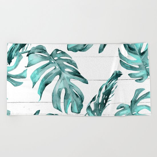 Turquoise Palm Leaves on White Wood Beach Towel