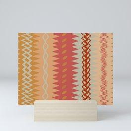 Assorted Zigzags And Waves Sienna Peach Grey Mini Art Print