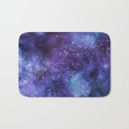 Stardust blue purple watercolor space Bath Mat