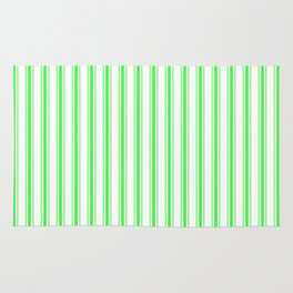 Mattress Ticking Wide Striped Pattern in Neon Green and White Rug