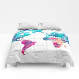 World Map Watercolor Paint on White Wood Comforters