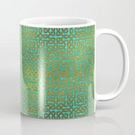 Golden Embossed Celtic Pattern on teal wood Coffee Mug