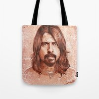 dave matthews Tote Bags featuring Dave Grohl by Renato Cunha