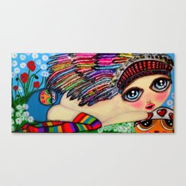 My girls with feathers Canvas Print
