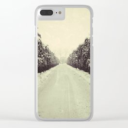 Avenue during a snowing. Clear iPhone Case