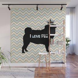 I love pug-Blue illustration original pop art graphic print Wall Mural