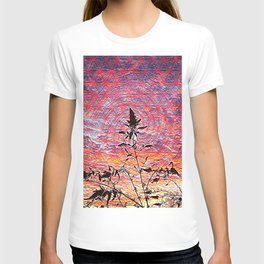 Leaf shadow at sunset T-shirt