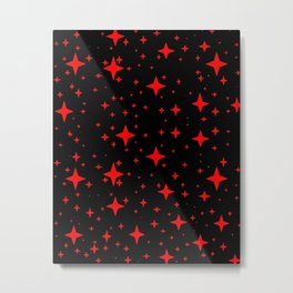 Bright Red Stars in Space , Cristmas Stars Metal Print